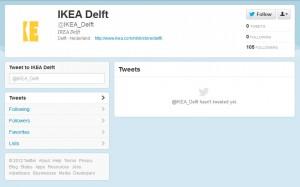 Lege twitterpagina van IKEA Delft, september 2012
